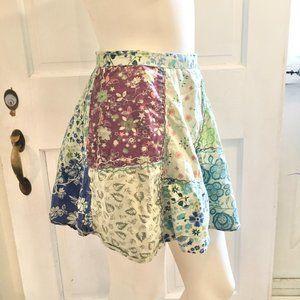 BLUE SKY Floral Boho Patchwork Wrap Skirt SZ S